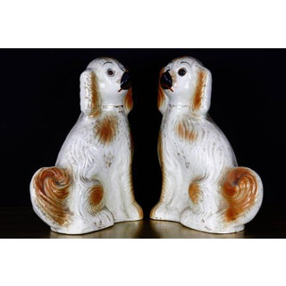 English Staffordshire Golden Ceramic Dogs - a Pair Preview