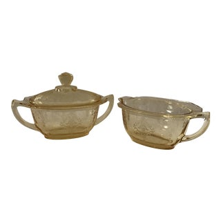Yellow Depression Glass Covered Sugar and Creamer - 2 Piece For Sale