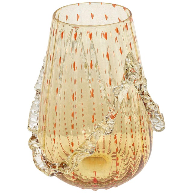 Barovier & Toso Amber and Dark Orange Colored Murano Glass Vase For Sale