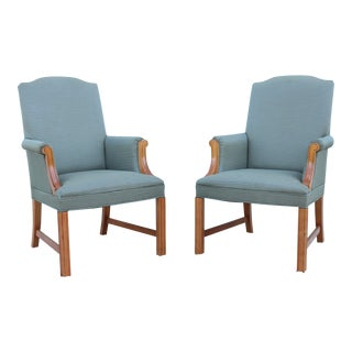 Vintage Bernhardt 19th Century Chippendale Style Library Arm Chairs - a Pair For Sale