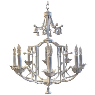 Hollywood Regency White Enameled Metal Pagoda Chandelier For Sale
