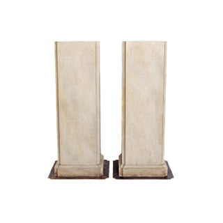 20th Century Pair of Faux Stone Pedestals For Sale