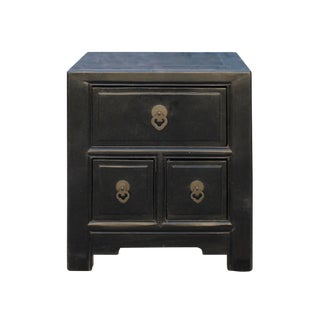 Oriental Distressed Black 3 Drawers End Table Nightstand For Sale