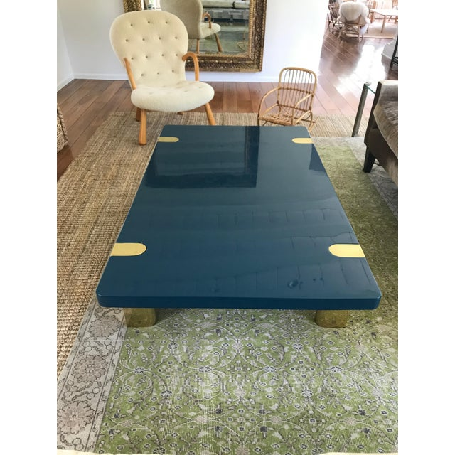 Chapman Coffee Table With Brass Legs Designed by Rita Konig for the Lacquer Company For Sale - Image 10 of 10