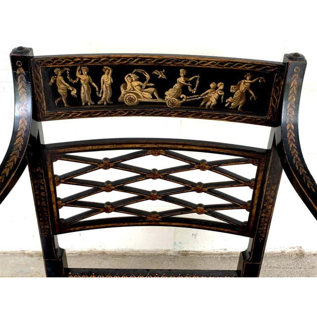 19th Century Regency Black and Polychrome Cane Seat Armchairs - a Pair For Sale - Image 5 of 10