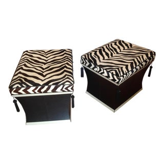 Faux Zebra Ottomans - a Pair For Sale