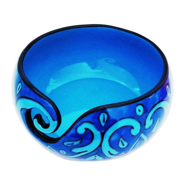 2010s Boho Chic Handcrafted Deep Water Blue Ceramic Knitting Yarn Bowl Holder For Sale - Image 5 of 5