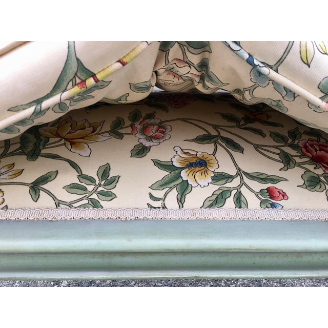 Textile **Final Price** Antique Green French Provincial Carved Wood Small Bench Settee For Sale - Image 7 of 11