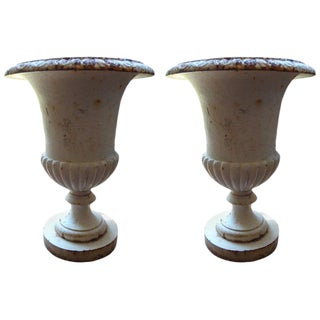 1920s French Campana Style Iron Garden Urns - a Pair For Sale