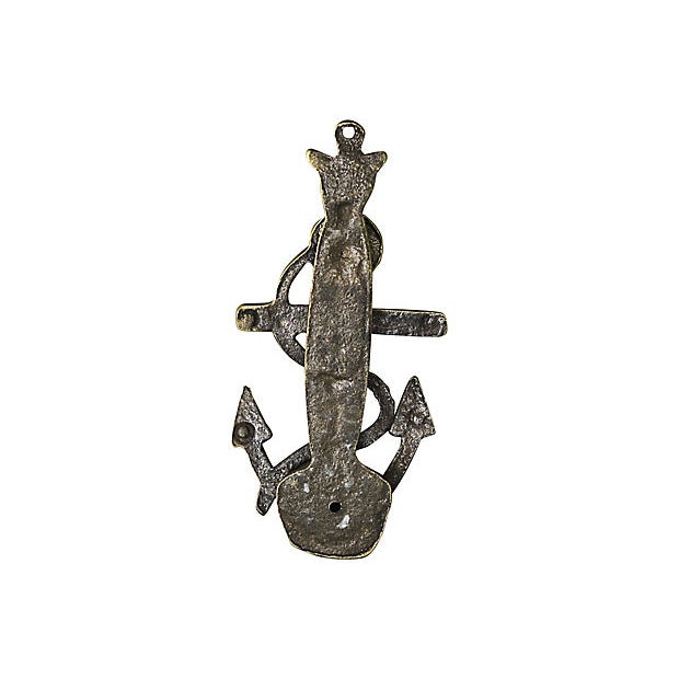 English 19th Century Antique English Brass Anchor Door Knocker For Sale - Image 3 of 4