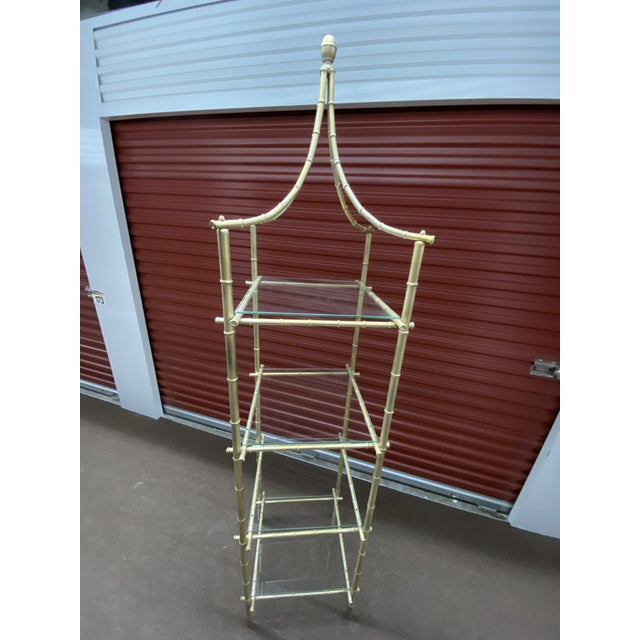 Vintage Metal Faux Bamboo Etagere For Sale In Chicago - Image 6 of 8