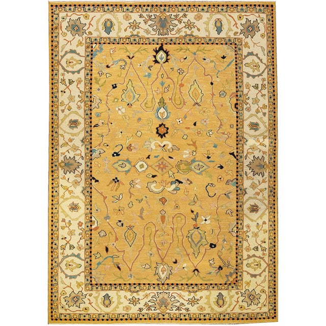 Contemporary Traditional Tan & Gold Hand Woven Rug - 6′ × 8′5″ For Sale - Image 4 of 4