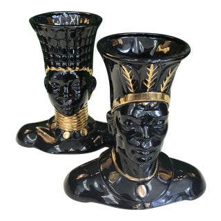 1950's Black & Gold African Vases, Pair For Sale