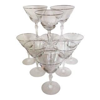 Fostoria Platinum Rim Cocktail Glasses - Set of 10 For Sale