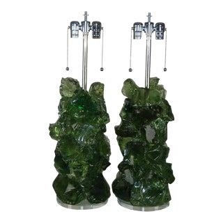 Glass Rock Lamp Sculptures in Green For Sale