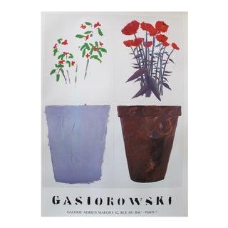 1973 French Exhibition Poster, Gerard Gasiorowski, Pots De Fleurs 101-102 For Sale