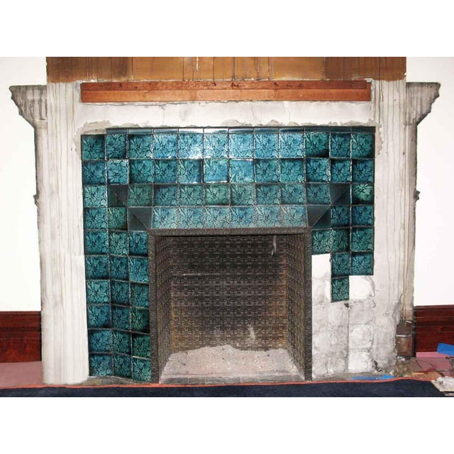 Wood Carved Mahogany & Tile Mantel For Sale - Image 7 of 10