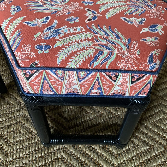 1960s Willow & Reed Chinoiserie Rattan Octagonal Ottomans- a Pair For Sale In New York - Image 6 of 13