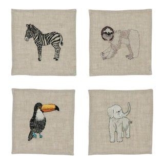 Safari Cocktail Napkins - Set of 4 For Sale