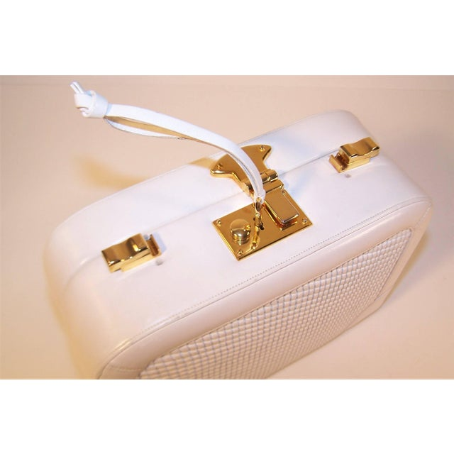Gold C.1990 Judith Leiber White Leather Box Handbag With Convertible Handles For Sale - Image 8 of 11