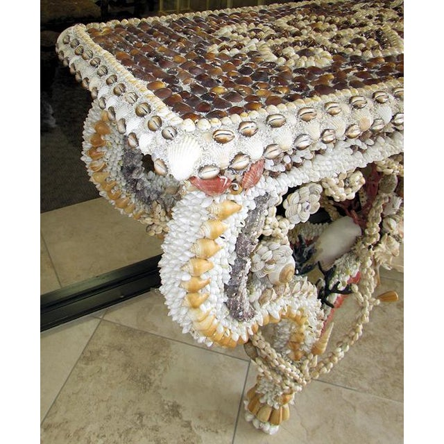 French French Louis XV Seashell Encrusted Console Table For Sale - Image 3 of 12