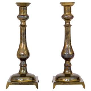 Mid-Century Brass Candlesticks - a Pair