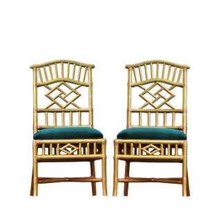 1990s Vintage Chippendale Style Gold Upholstered Rattan Side Chairs - a Pair For Sale