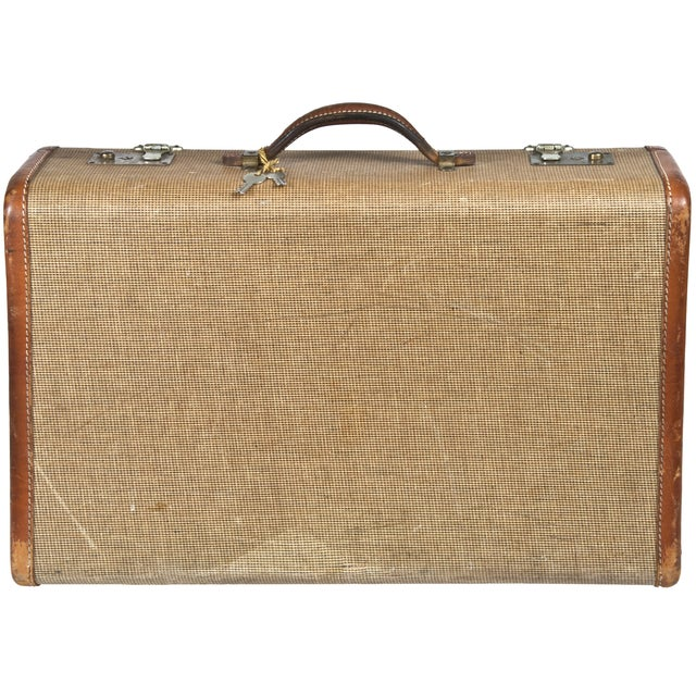 Vintage Fabric & Leather Suitcase - Image 2 of 5