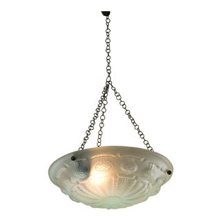 Art Deco Frosted Glass Pendant For Sale