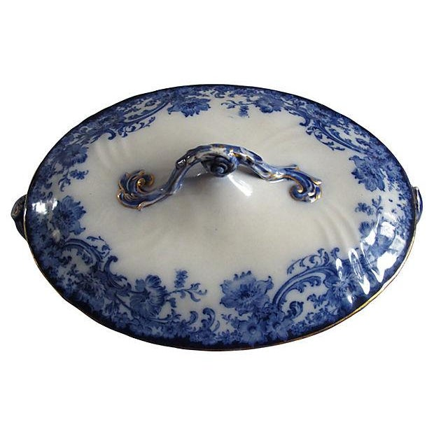 Vintage Doulton Flow Blue Covered Serving Dish - Image 2 of 3