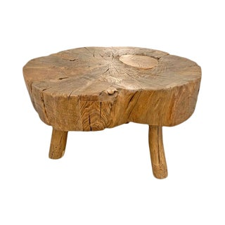 Primitive Tree Trunk Table For Sale