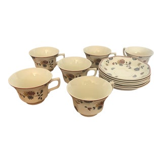 1980s English Traditional Ironstone Teacup/Plate Set - 12 Pieces