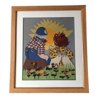 Large Vintage Raggedy Ann & Andy Needlework Children's Picture For Sale