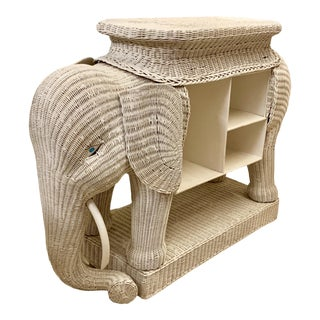 Large Scale Hollywood Regency Style Wicker Elephant Bar / Bookcase For Sale