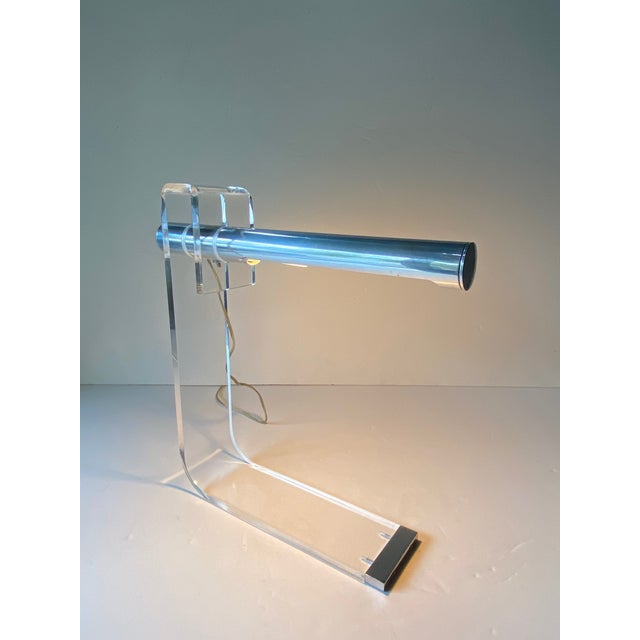 1970s Mid Century Modern Sonneman Lucite & Chrome Desk Lamps -A Pair For Sale - Image 5 of 13