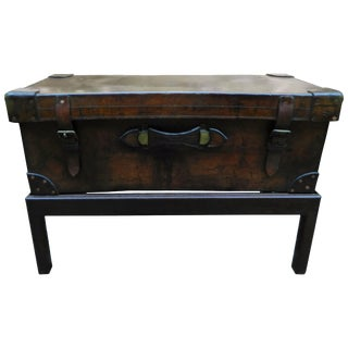 English Leather Trunk Adapted as a Coffee Table on a Wood Base, 19th Century For Sale