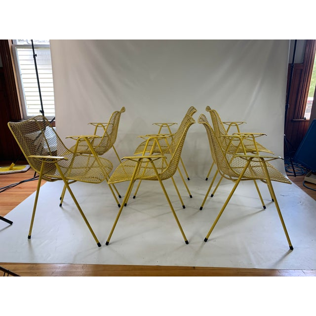 Great set of six Russell Woodard sculptura wire mesh chairs with armrests. Rare set, not very common. Very comfortable.