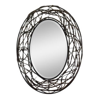 Large Rustic Oval Wall Mirror