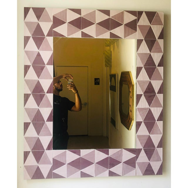 Purple Lavender and Mauve Rectangular Geometric Opaline Glass Mirror For Sale - Image 8 of 8