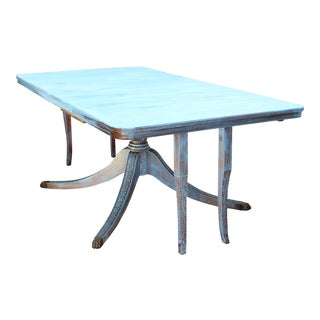 19th/20th Century Antique Shabby Chic/Cottage Blue Painted Solid Mahogany Dining Table For Sale