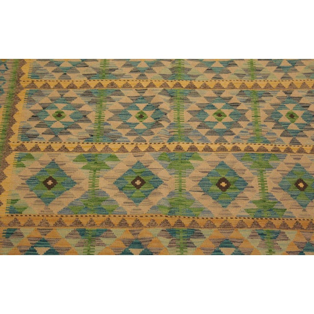 2010s Darleen Green/Teal Hand-Woven Kilim Wool Rug -5'2 X 6'7 For Sale - Image 5 of 8