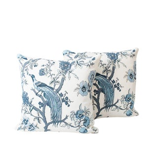Blue and Ivory Chinoiserie Bird Pillows, a Pair For Sale