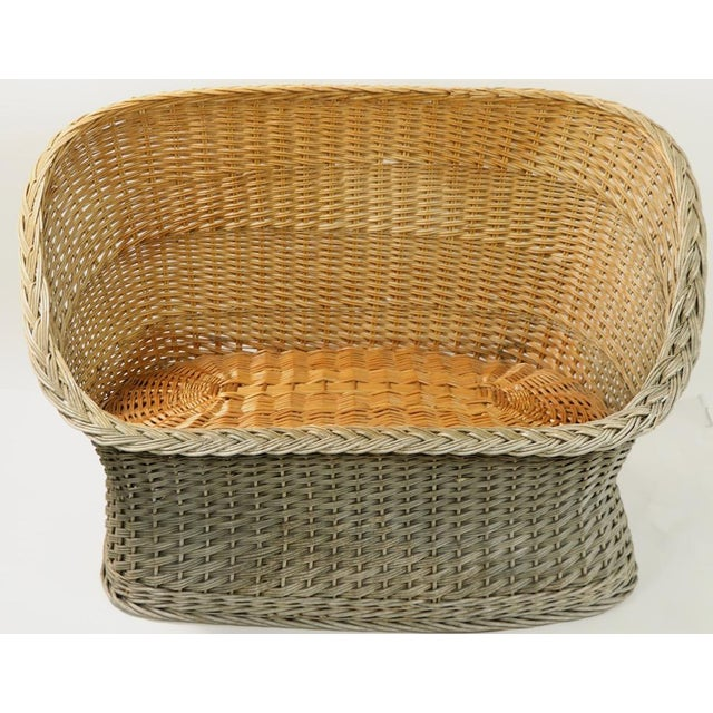 Mod Bar Harbor settee woven wicker, this example is in good overall condition, showing some cosmetic wear and minor loss,...