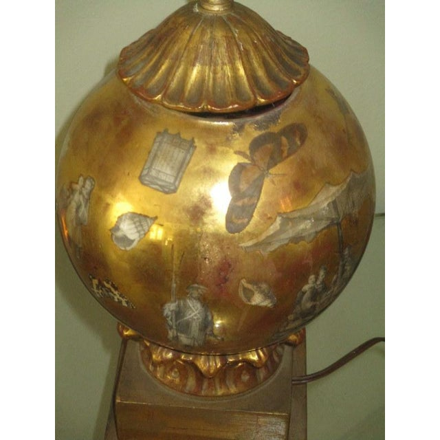 Mid 20th Century Vintage Italian Reverse Painted Table Lamp With Oriental Scenes For Sale - Image 5 of 13