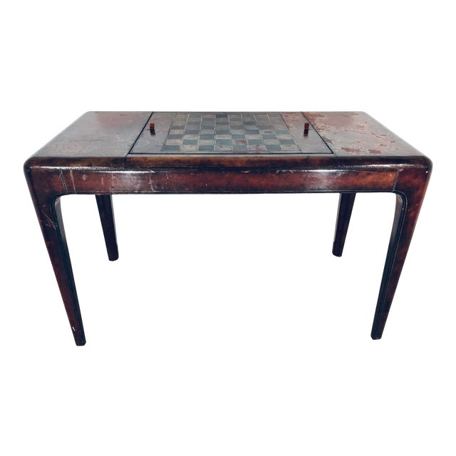 Mid-Century Modern Maitland Smith Distressed Leather Game Table For Sale