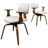 Image of Mid-Century Modern Leather Bentwood Swivel Armchairs by Thonet- A Pair For Sale