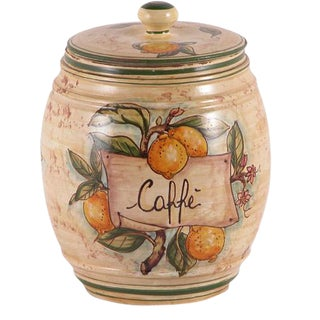 Italian Hand Painted Ceramic Coffee Canister For Sale