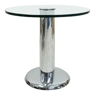 Vintage Round Chrome and Glass Center Table For Sale