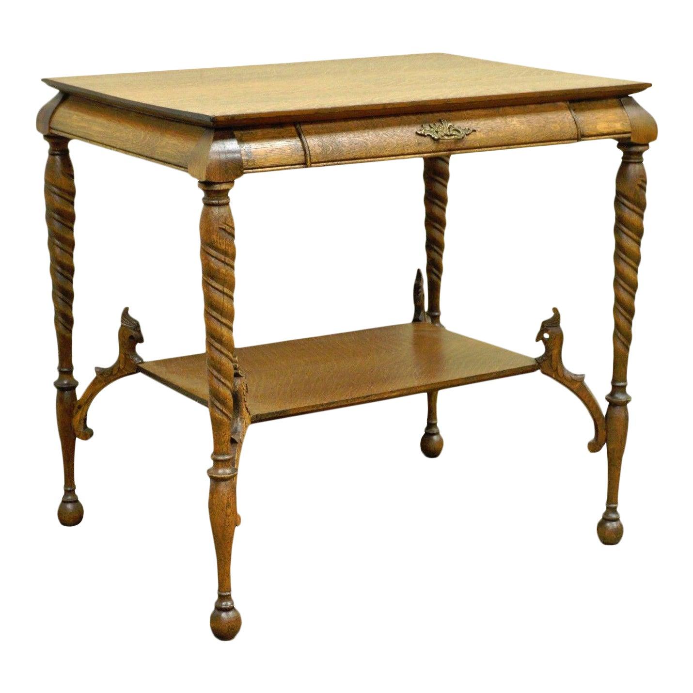 Antique Victorian Oak Barley Twist Figural Ladies Writing Desk Hall Table  Vintage   Chairish - Antique Victorian Oak Barley Twist Figural Ladies Writing Desk Hall