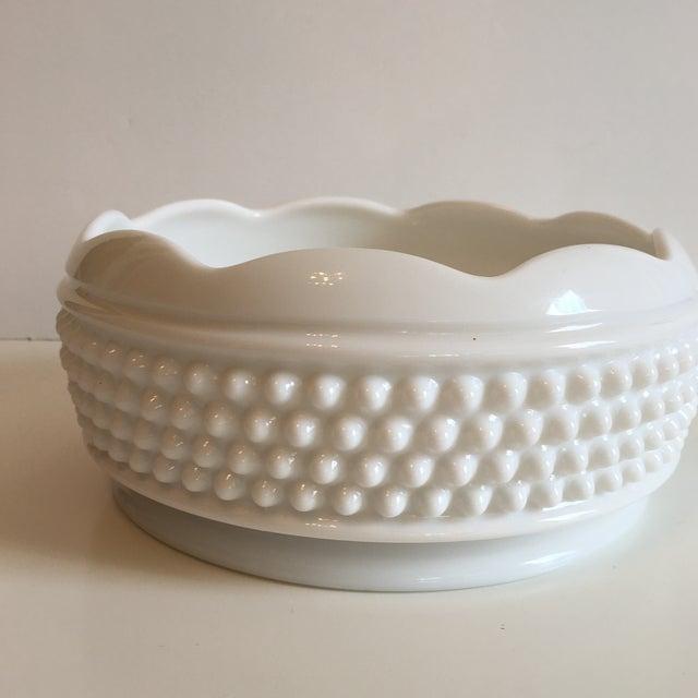 Vintage Hobnail Milk Glass Bowl For Sale - Image 4 of 7